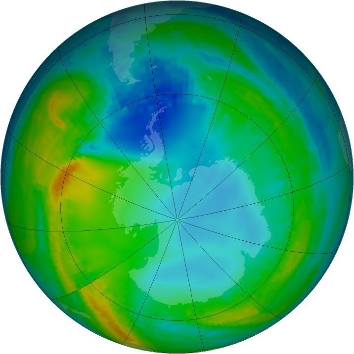 Antarctic ozone map for 17 July 2004