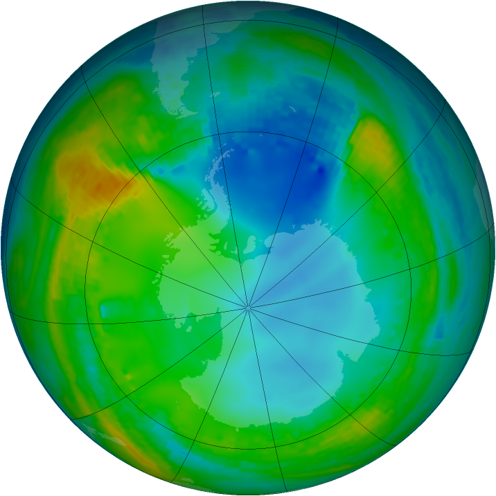 Antarctic ozone map for 18 July 2004