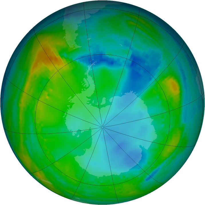 Antarctic ozone map for 19 July 2004