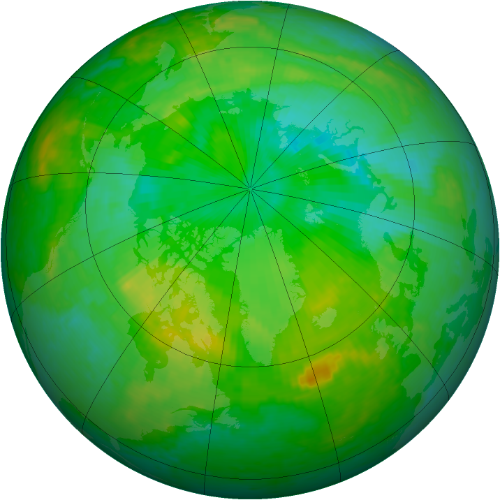 Arctic ozone map for 20 July 2004