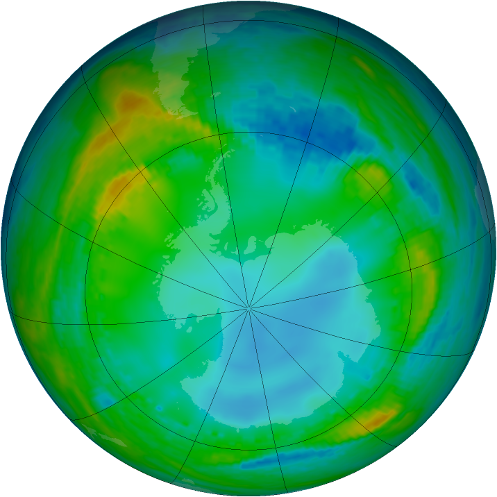 Antarctic ozone map for 20 July 2004