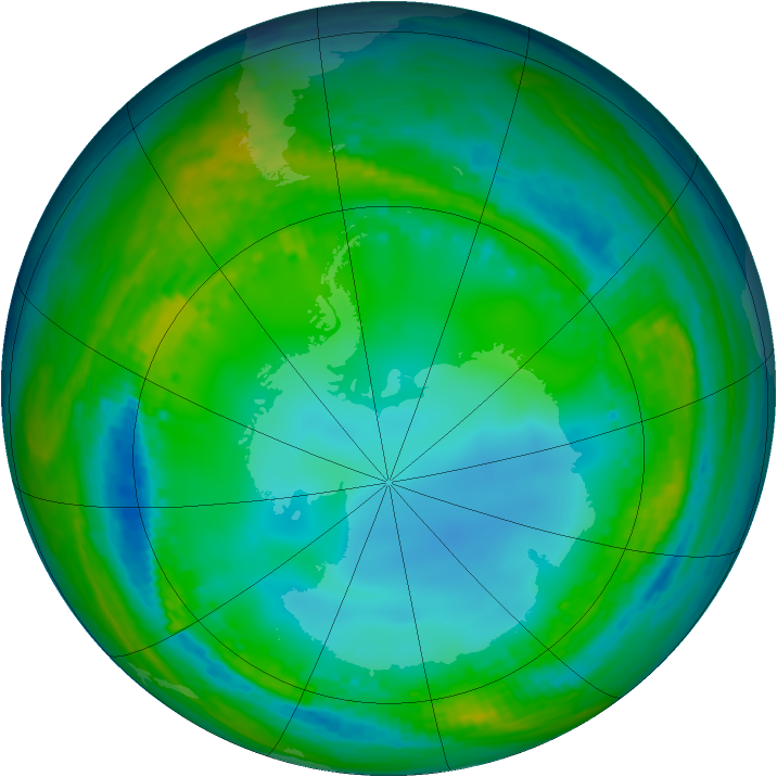 Antarctic ozone map for 21 July 2004