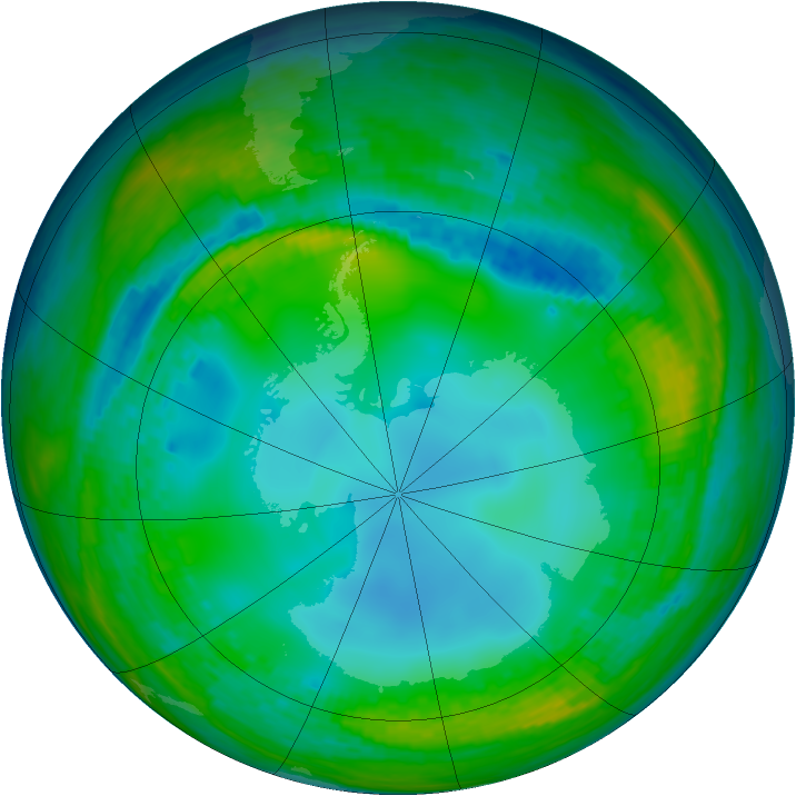 Antarctic ozone map for 23 July 2004