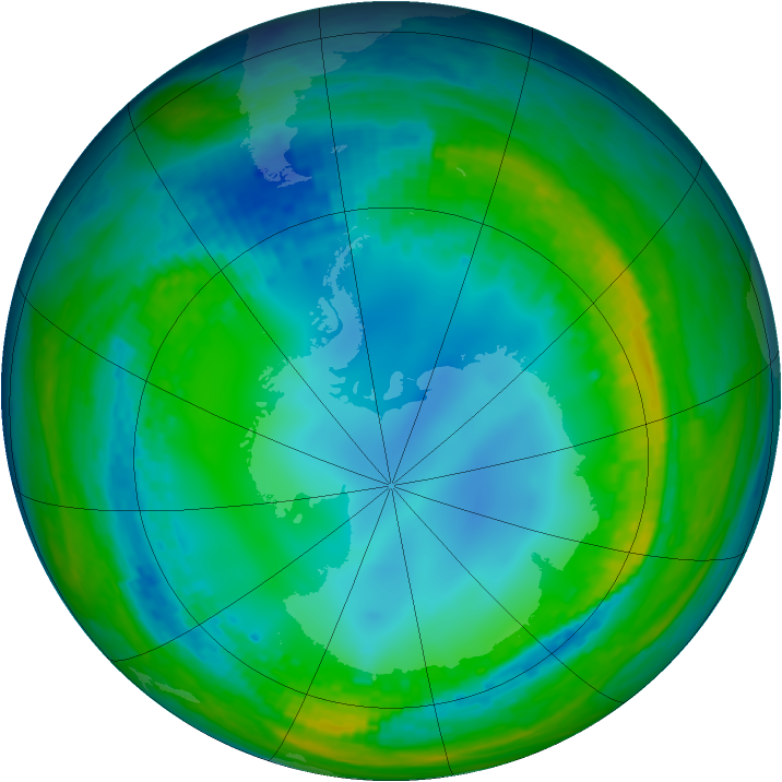 Antarctic ozone map for 26 July 2004