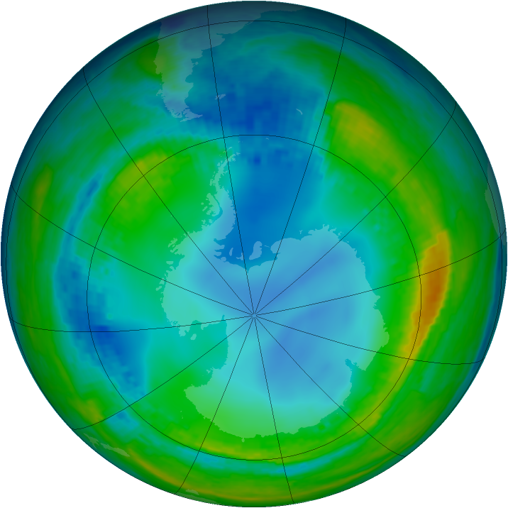 Antarctic ozone map for 27 July 2004