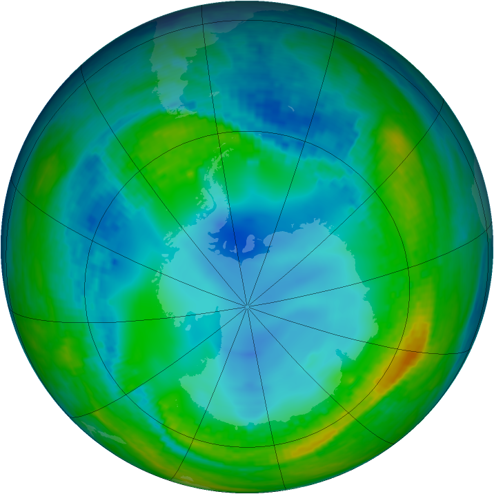 Antarctic ozone map for 28 July 2004