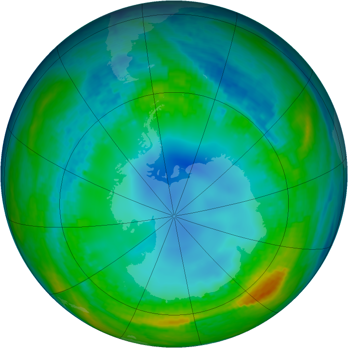 Antarctic ozone map for 29 July 2004