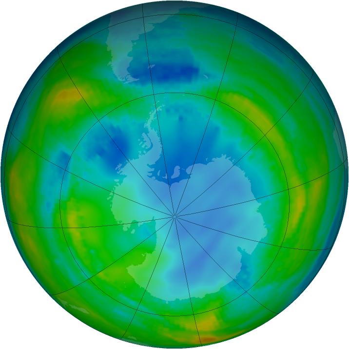Antarctic ozone map for 01 August 2004