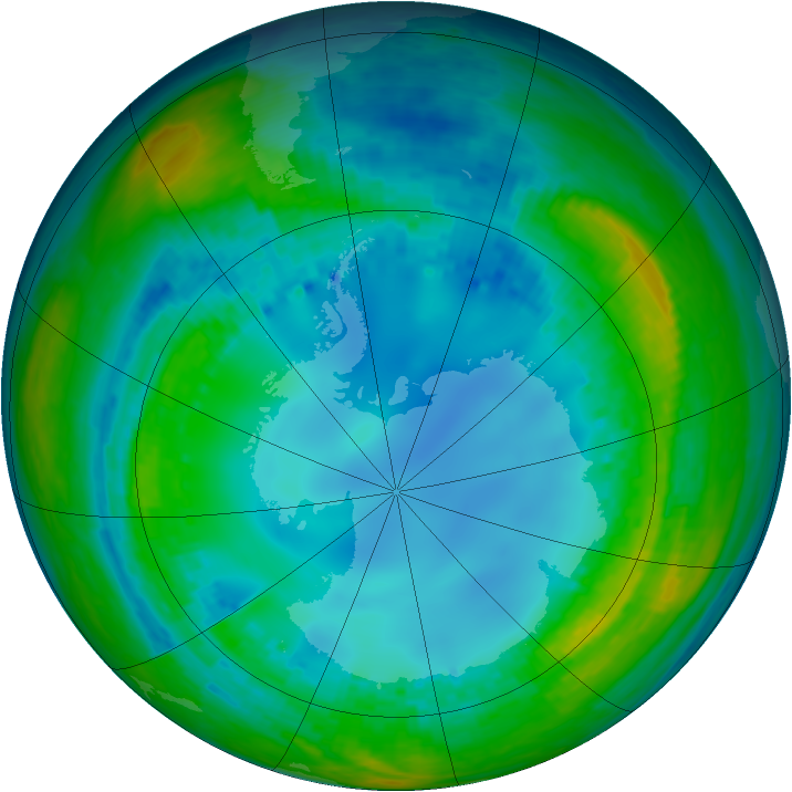 Antarctic ozone map for 02 August 2004