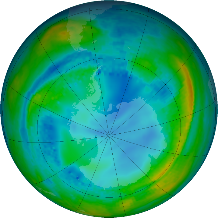 Antarctic ozone map for 03 August 2004
