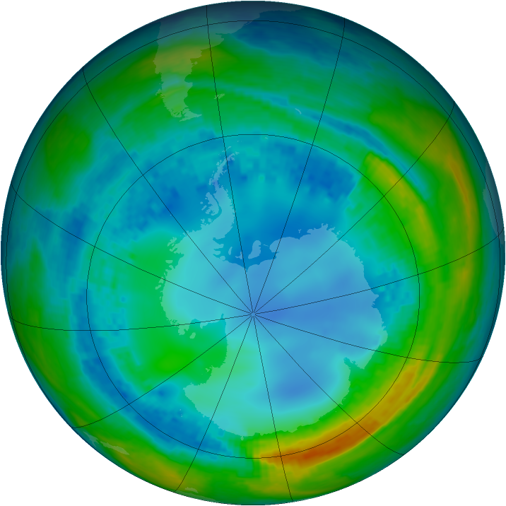 Antarctic ozone map for 05 August 2004