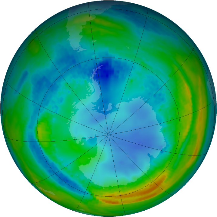 Antarctic ozone map for 06 August 2004