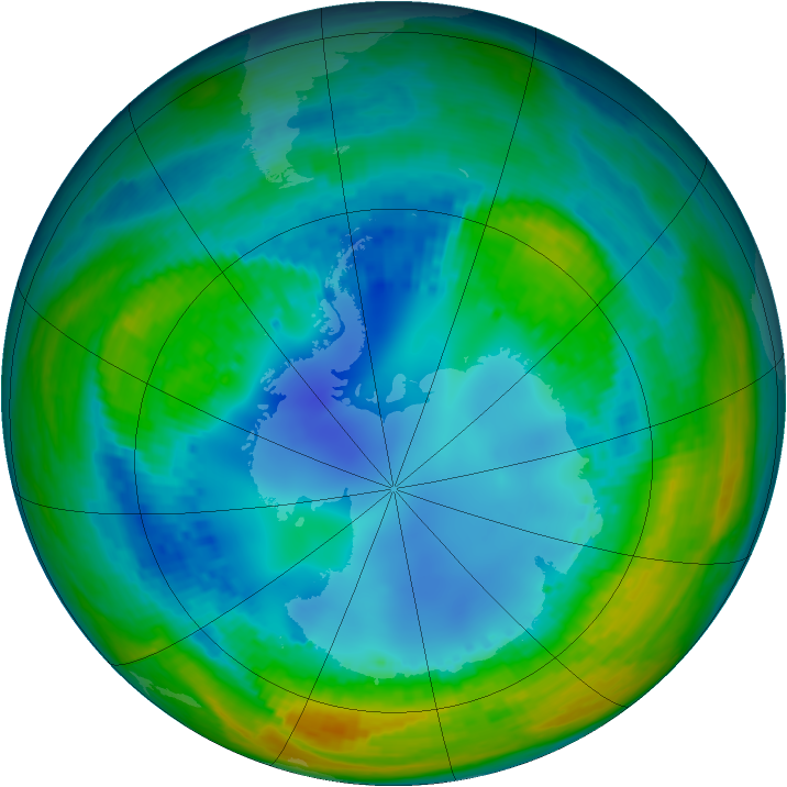 Antarctic ozone map for 09 August 2004
