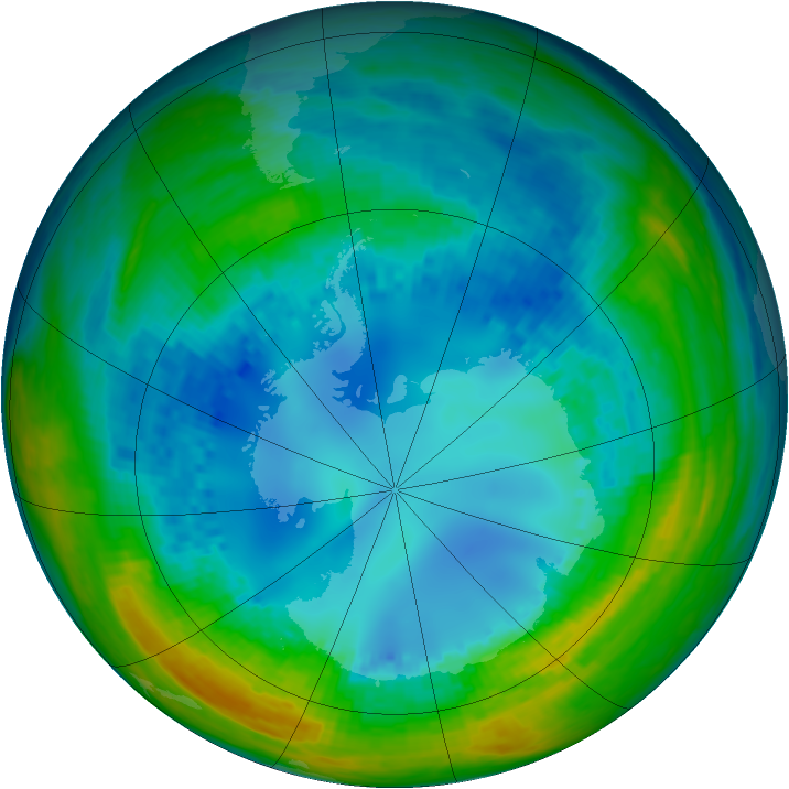 Antarctic ozone map for 13 August 2004