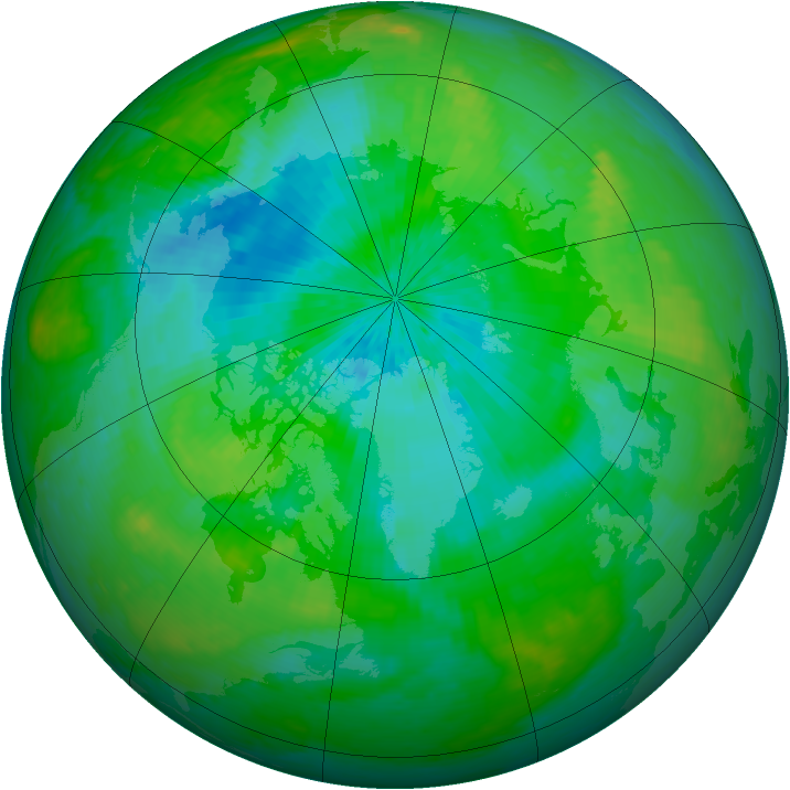 Arctic ozone map for 15 August 2004