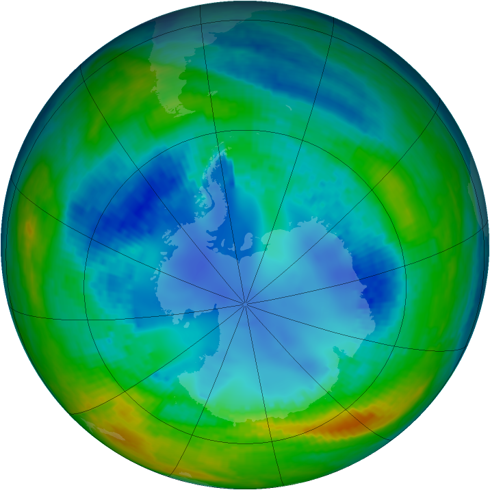 Antarctic ozone map for 15 August 2004