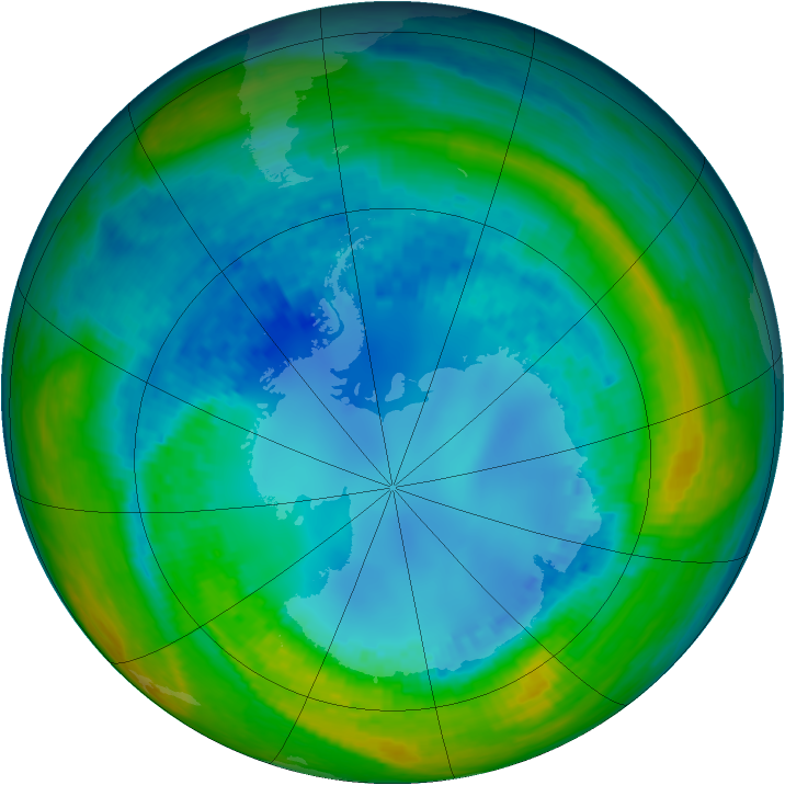 Antarctic ozone map for 17 August 2004
