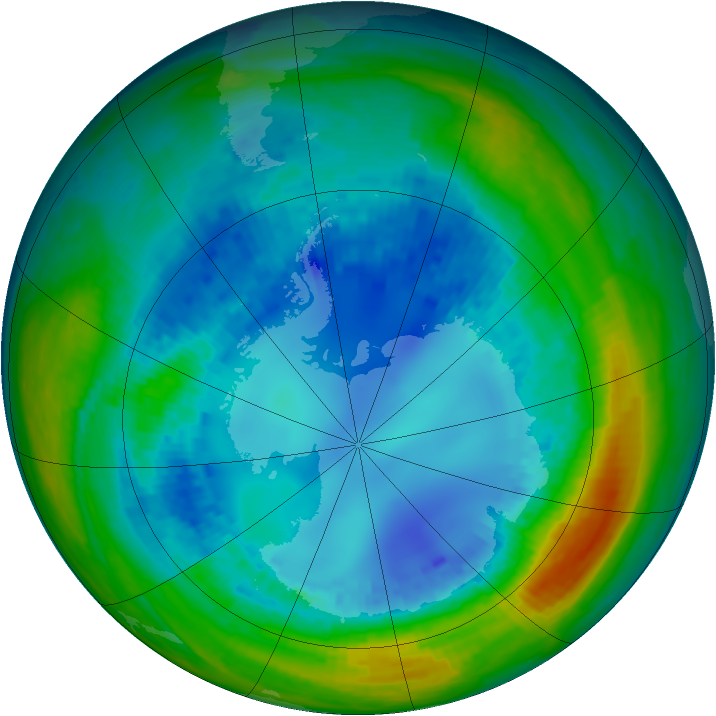 Antarctic ozone map for 19 August 2004