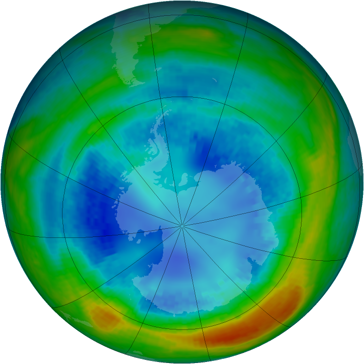 Antarctic ozone map for 22 August 2004