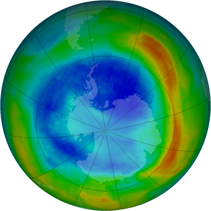 Antarctic ozone map for 28 August 2004