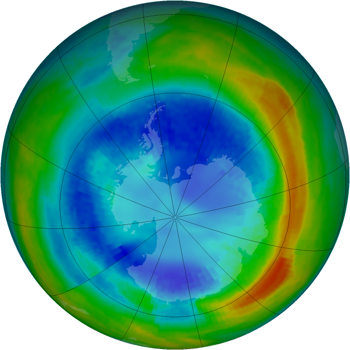 Antarctic ozone map for 29 August 2004