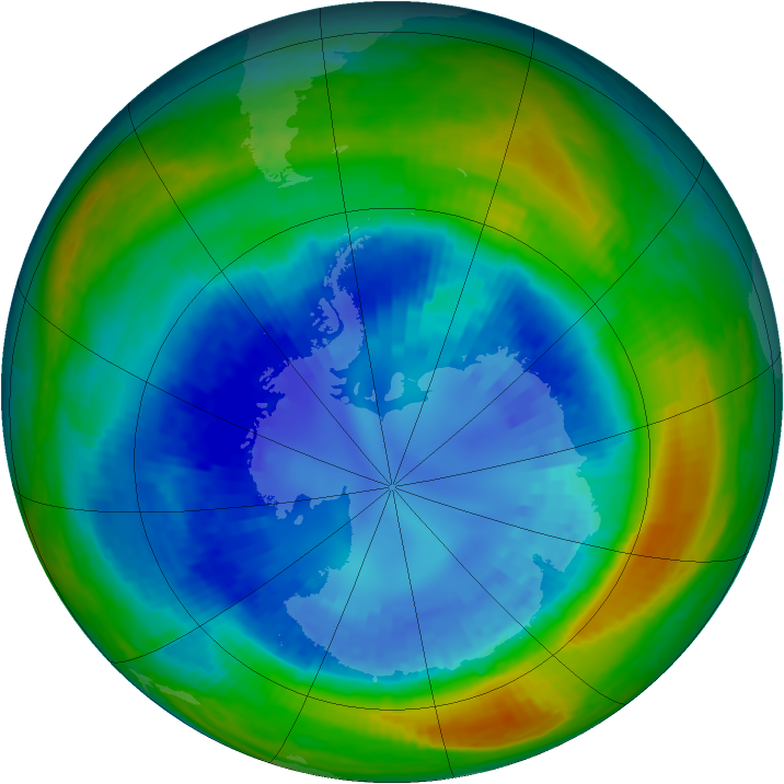 Antarctic ozone map for 01 September 2004