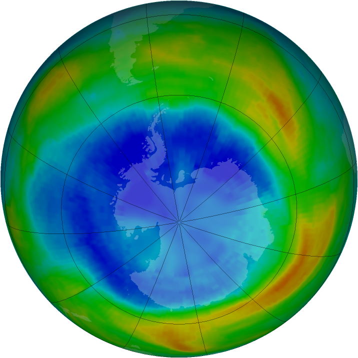 Antarctic ozone map for 02 September 2004