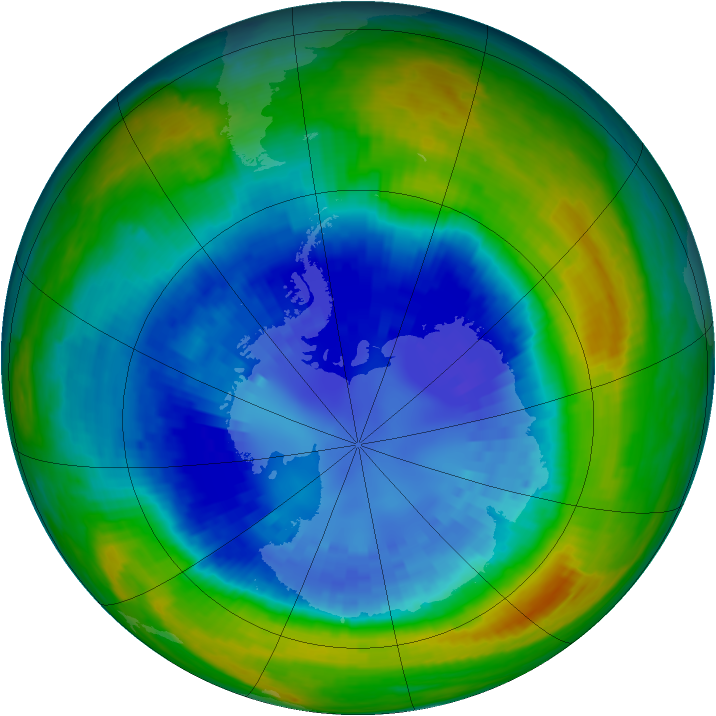 Antarctic ozone map for 03 September 2004