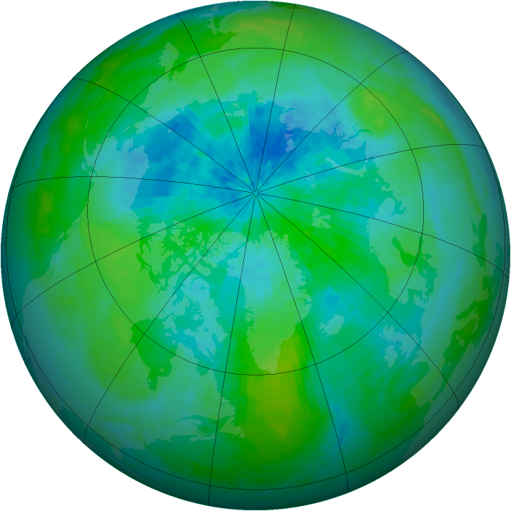 Arctic ozone map for 07 September 2004