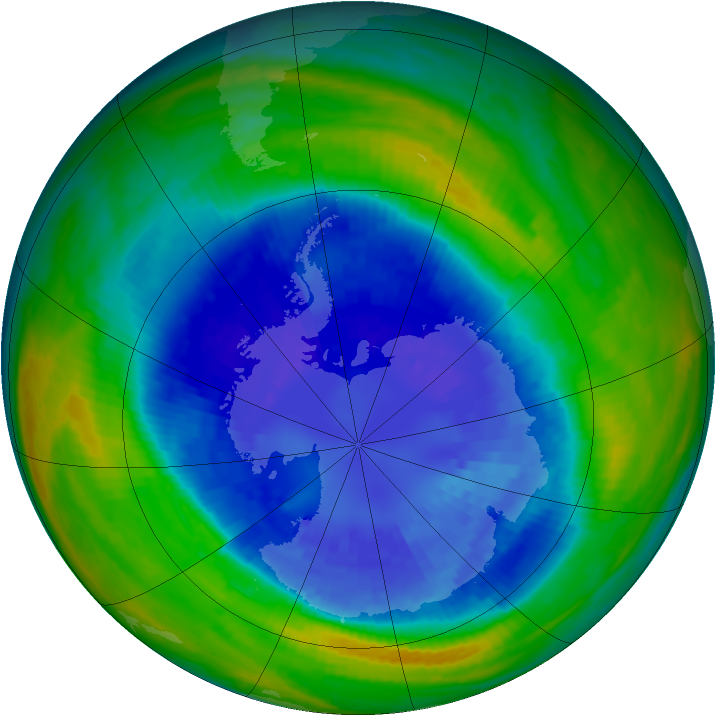 Antarctic ozone map for 08 September 2004