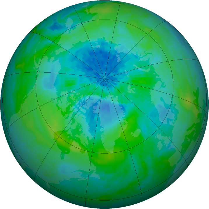 Arctic ozone map for 09 September 2004