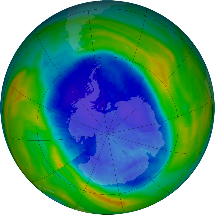 Antarctic ozone map for 09 September 2004
