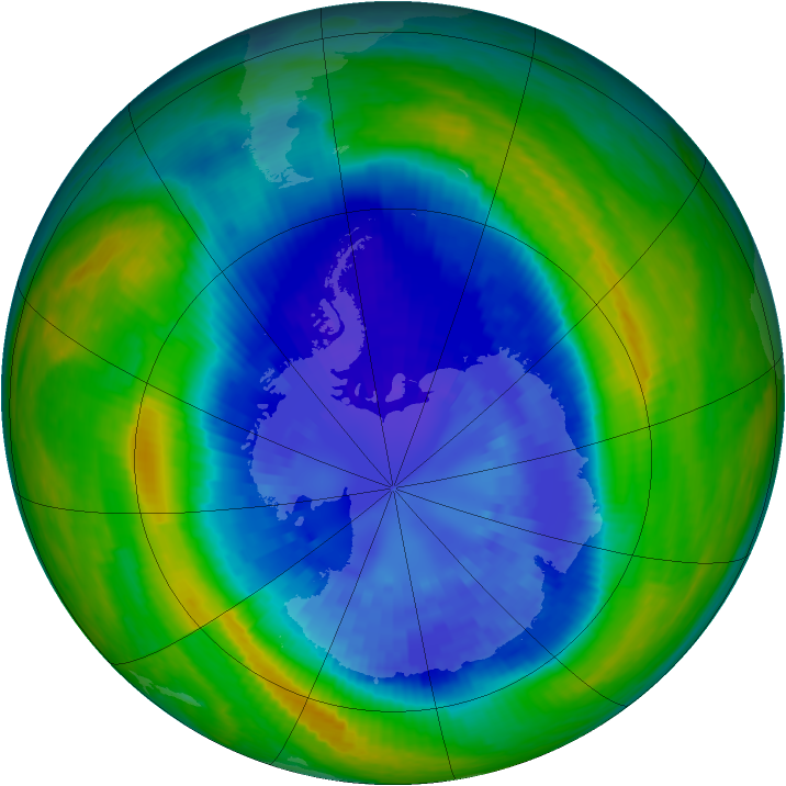 Antarctic ozone map for 10 September 2004