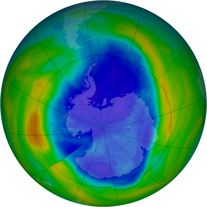 Antarctic ozone map for 11 September 2004