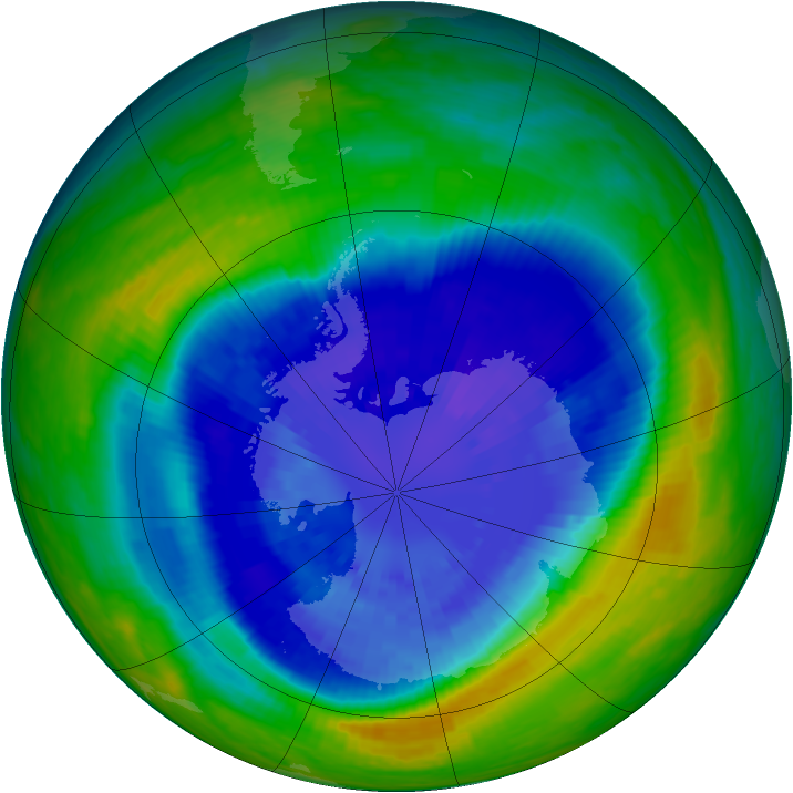Antarctic ozone map for 14 September 2004