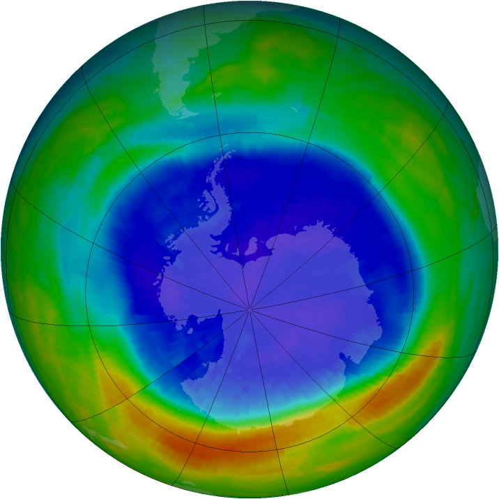 Antarctic ozone map for 16 September 2004