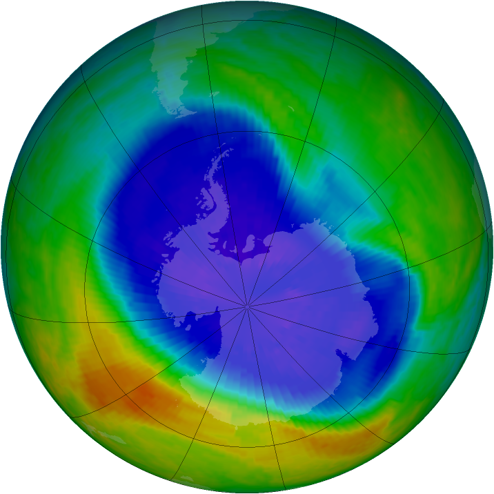 Antarctic ozone map for 19 September 2004