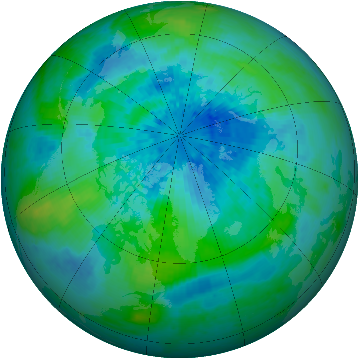 Arctic ozone map for 20 September 2004
