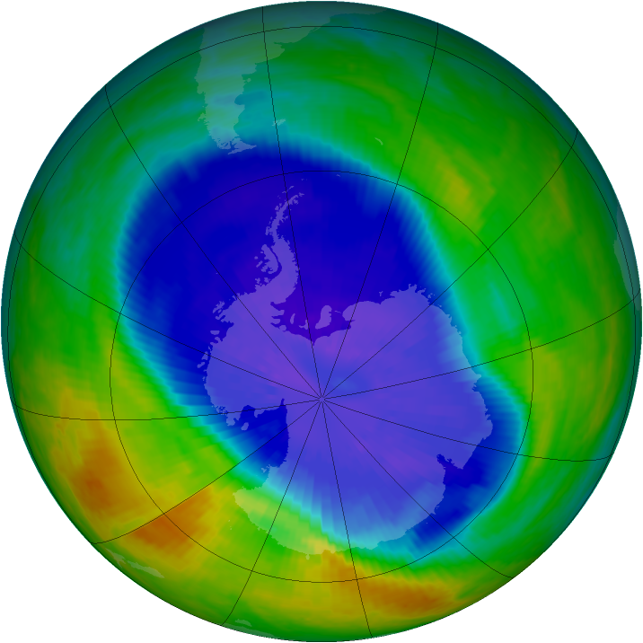 Antarctic ozone map for 20 September 2004