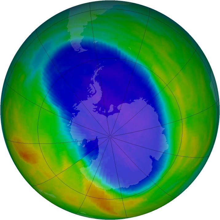 Antarctic ozone map for 21 September 2004