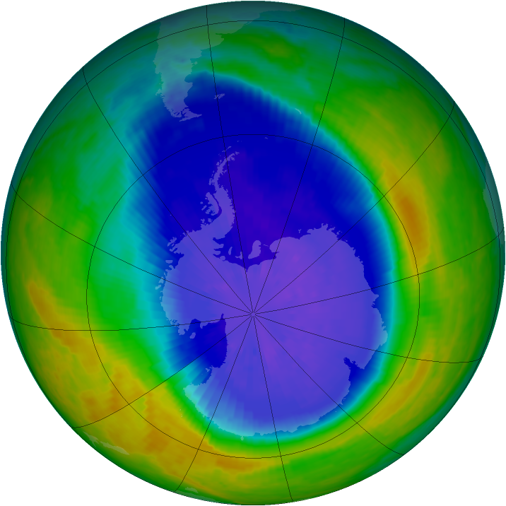 Antarctic ozone map for 22 September 2004