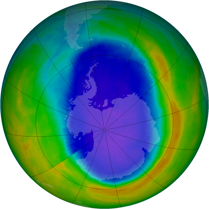 Antarctic ozone map for 24 September 2004