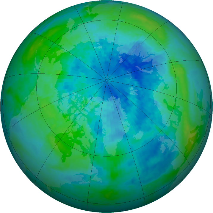Arctic ozone map for 25 September 2004