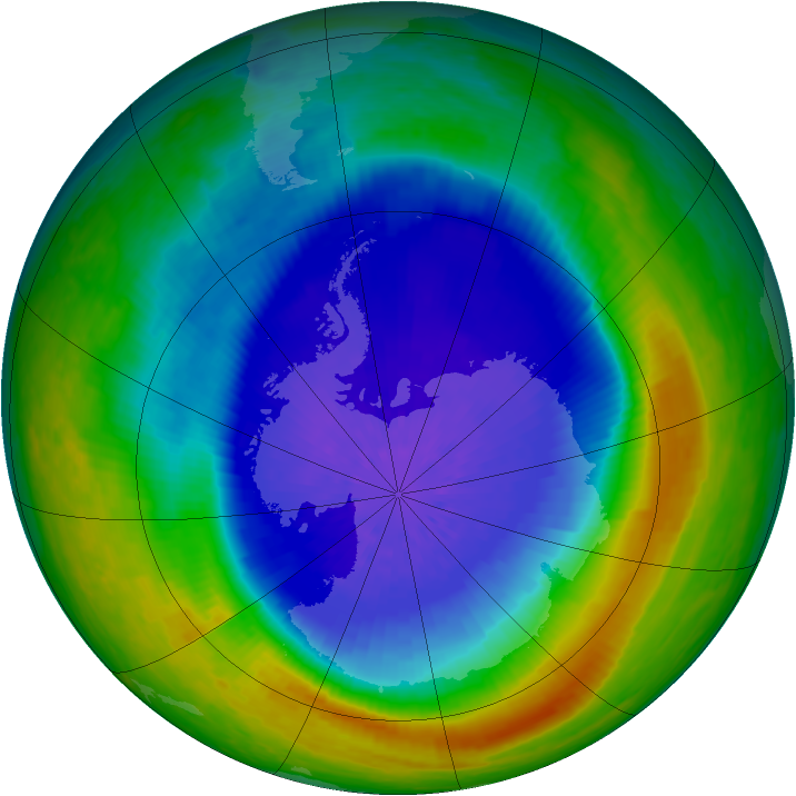 Antarctic ozone map for 26 September 2004