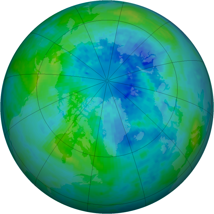 Arctic ozone map for 27 September 2004