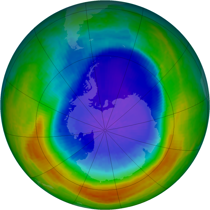 Antarctic ozone map for 28 September 2004