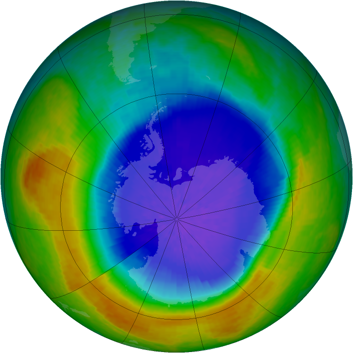 Antarctic ozone map for 30 September 2004