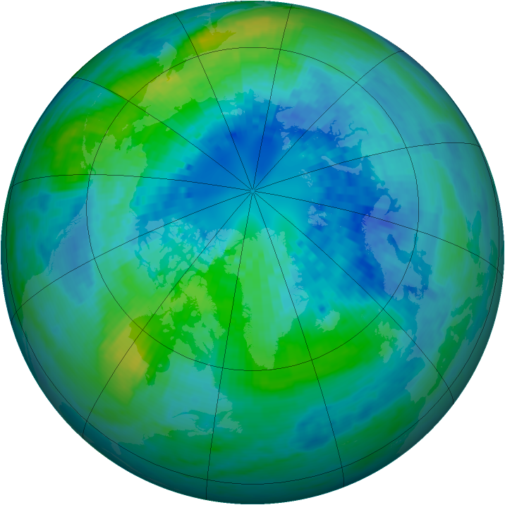 Arctic ozone map for 02 October 2004