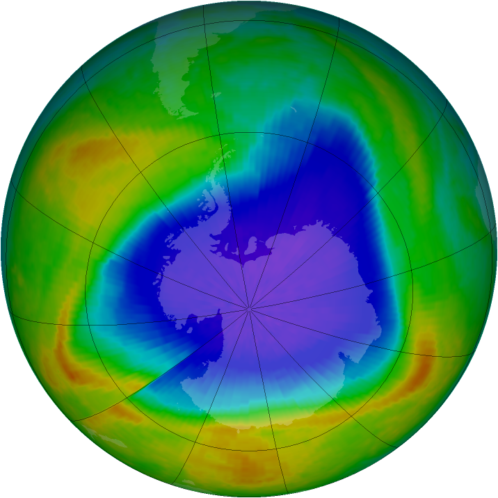 Antarctic ozone map for 02 October 2004