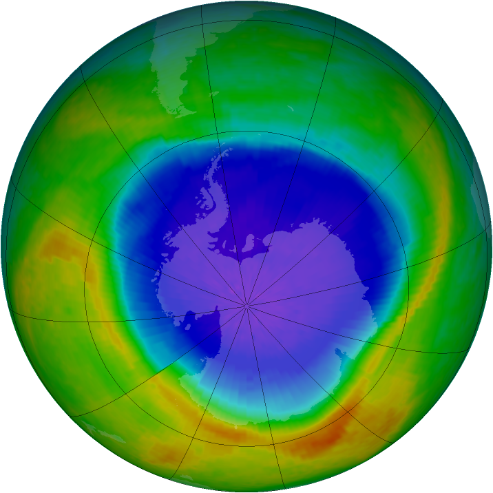 Antarctic ozone map for 04 October 2004